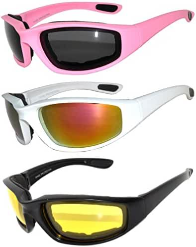 Set of 3 Pairs Motorcycle Padded Foam Glasses Smoke Yellow or Clear Lens Owl