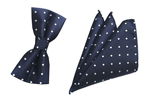 - Men BOY Navy Blue Bow Tie Set Work White Polka Dots Fun Celebration Dress Bowtie