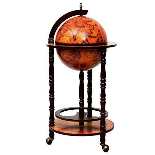 "Wood Globe Wine Bar Stand 16th Century Italian Rack Liquor Bottle Shelf 36"""