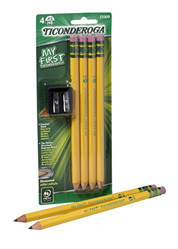 Ticonderoga Wood-Cased My First Pencils, 2 HB Soft, Pre-Sharpened, With Eraser, Includes Bonus Sharpener, Yellow, 4 Count (33309)