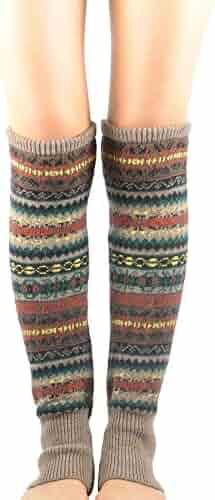 ba0e9c985 Zando Womens Winter Thick Boho Cable Knit Knee High Socks Multicolor Long  Leg Warmers