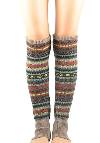 Zando Women Winter Multicolor Thick Boho Cable Knit Long Leg Warmers Boot Socks Khaki (Khaki Clothing Accessories Womens :)