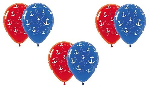 Nautical Sailboat Anchor Red Blue Printed 6 Piece Count 11