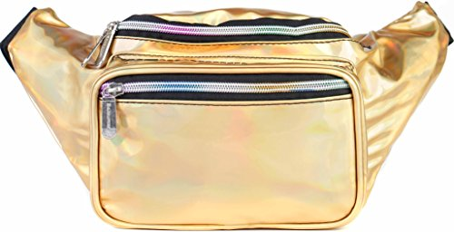 SoJourner Holographic Rave Fanny Pack - Packs for festival women, men | Cute Fashion Waist Bag Belt Bags (Gold) by SoJourner Bags