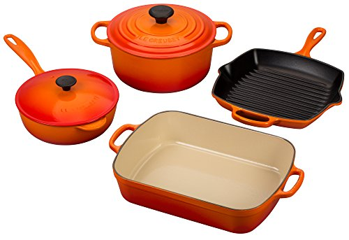 Le Creuset Signature 6-Piece Cast Iron Cookware Set, Flame -