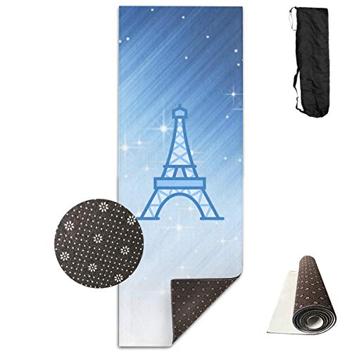 JXZIZI Yoga Mat Thick Printed Design,Non Slip Fitness Exercise Mat with A Yoga Bag for Yoga,Pilates and Floor Exercises,Eiffel Tower