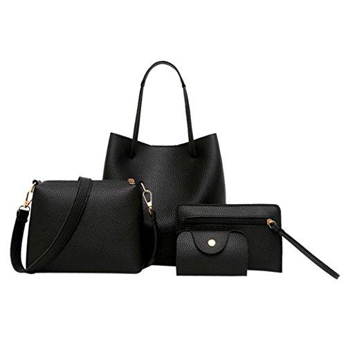 zarupeng Bolso de hombro de cuero del patrón de las mujeres 4pcs + Bolso de Crossbody + bolso + cartera Negro#1