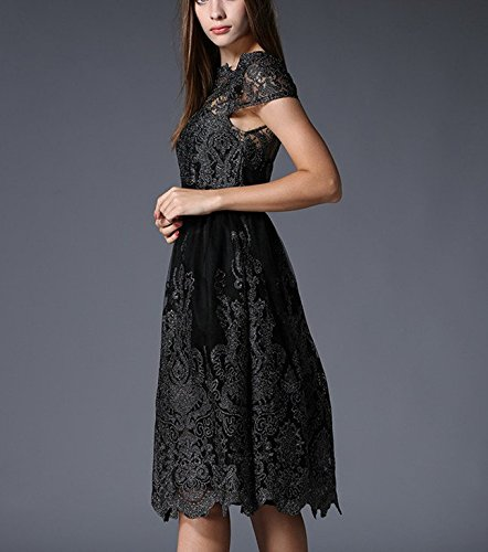 Gauze Slim Bobbycool End Embroidered Ladies Black Slim High Dress wUwp1SB0