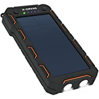 Solar Charger 15000mAh, X-DNENG Portable High Efficiency SunPower Solar Panel Power Bank External Backup Battery Pack with 2LED Light Dual USB Port for iPhone iPad Samsung Android Cellphones GoPro GPS