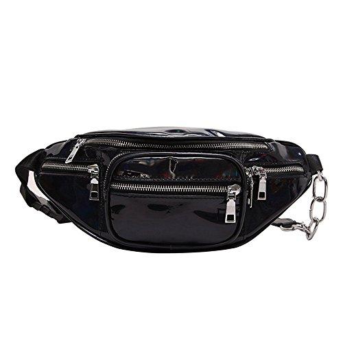 b7137c5f9cc4 JIAN YA NA Fanny Pack Women Laser Waist Bag with Chain Fashion Shiny Retro  Metallic Festival Neon Bum Bag Travel Purse Waist Pouch (Black)