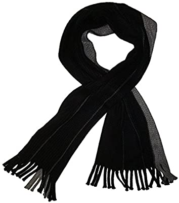 Calvin Klein Men's Winter Scarf Colorblock Raschel Chunky Muffler Black/Grey