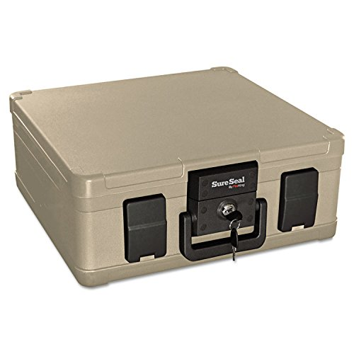 SureSeal By FireKing SS103 Fire and Waterproof Chest, 0.27 ft3, 15-9/10w x 12-2/5d x 6-1/2h, Taupe by SureSeal By FireKing (Image #1)