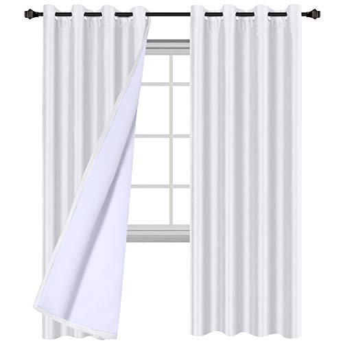 H.VERSAILTEX White Blackout Curtains (2 Layers) - Elegant Rich Faux Silk Window Panels with White Liner Thermal Insulated Solid Grommet Curtain Drapes, Privacy Assured (Set of 2, 52 x 84 Inch) (White Silk Drapes)