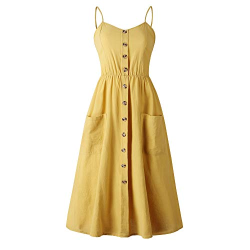 LitBud Women Easter Dresses Summer for Women Ladies Spaghetti Strap Casual Vintage Party Holiday Button Down Vacation Midi Swing Sundresses with Pockets Yellow Size 8 10 L