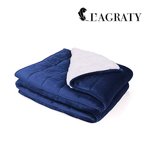 Cheap L AGRATY Luxury Minky Sherpa Weighted Blanket for Adults (15lbs 48