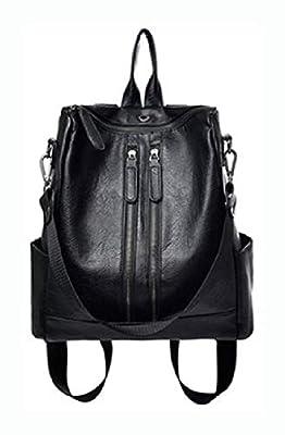 PROGLEAM Travel & Storage Bag, Bang Good Leather Backpack Travel Camping Handbag School Bag Shoulder Bag Waterproof Rucksack, Black