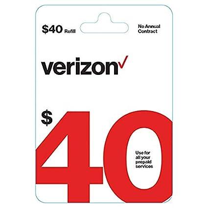 Amazon.com: Tarjeta de recarga Verizon $40 prepagada