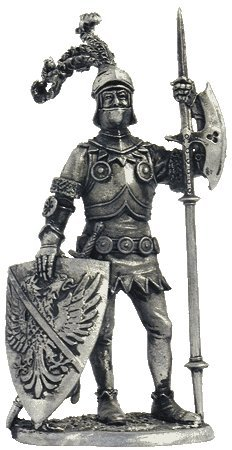 European Knight (15th century) Tin Toy Soldiers Metal Sculpture Miniature Figure Collection 54mm (scale 1/32) (M94)