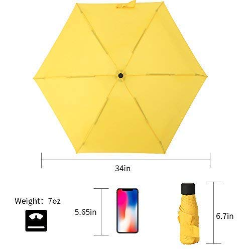 YUI Travel Mini Umbrella Sun&Rain Lightweight Totes Small and Compact Suit for Pocket Yellow by YUI Galleria (Image #2)