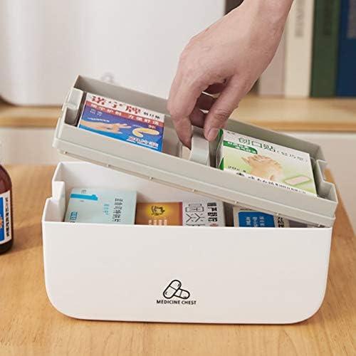 救急箱 薬箱 薬ケース 収納ボックス 取っ手付き ファーストエイドボックス 緊急 防災 薬入れ 小物入れ 持ち運びしやすい 遮光 二段式 ロック付き 化粧品 薬品 防災グッズ 23.5*13.5*15cm 31*20.5*23cm