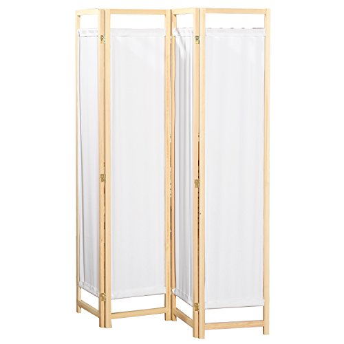 Four Panel Natural Framed Screen (Natural Wood & White Fabric 4 Panel Partition Screen / Freestanding Hinged Privacy Room Divider - MyGift)