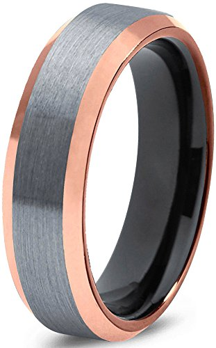 Midnight Rose Collection Tungsten Wedding Band Ring 6mm for Men Women Black & 18K Rose Gold Plated Beveled Edge Brushed Polished by Midnight Rose Collection