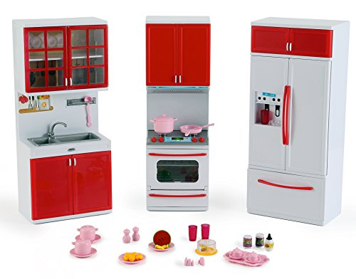 Liberty Imports Gourmet Red Kitchen Mini Toy Playset w/ Ligh