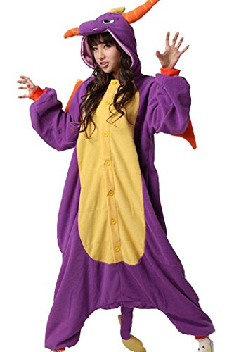 WOTOGOLD Animal Cosplay Costume Dragon Unisex Adult Pajamas Purple  X-Large