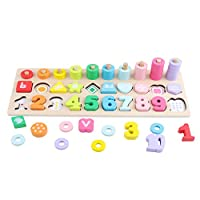 GEMEM Montessori Math Shapes Puzzle Toys for Toddlers Stacking Shape Sorting Kids Games Wood Blocks Number for Kids Preschool Counting Early Learning Education Toy