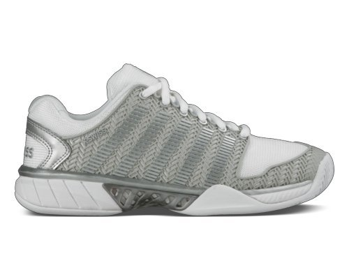 K Swiss Women's Hypercourt Express Tennis Shoe-10 B(M) US-White/Silver by K-Swiss