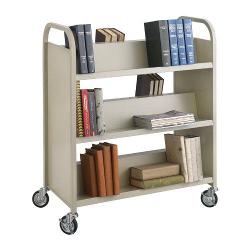 SAF5357SA - Safco Steel Shelf Double-Sided Book Carts, 6-Shelf Cart