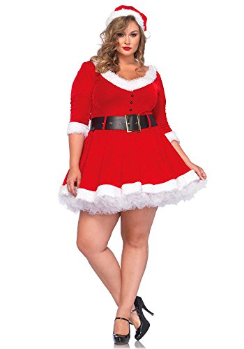 Leg Avenue Women's Plus-Size Miss Santa, Red, 3X/4X