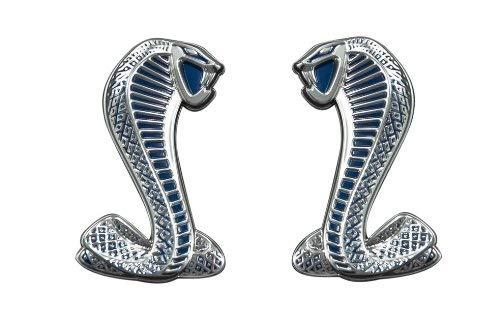 Chrome & Blue Mustang Cobra Fender Emblems - Left/Right Pair