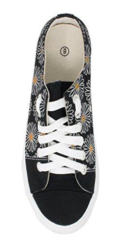 Ann Arbor-skjorta Co. Prästkrage Blomma Sneakers | Söt Rolig Ganska Modernt Gym Daisey Tennis Sko - Kvinnor Män Svart
