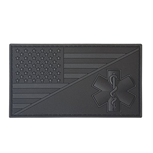 LEGEEON All Black Blackout USA American Flag EMS EMT Star of Life Paramedic Medic Tactical PVC Rubber Hook-and-Loop