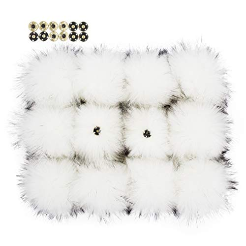Furling Pompoms 12pcs Fluffy Faux Raccoon Fur Pompoms with Press Button for Knitted Hats Scarves Accessories 5.5 Inches(White) -  FH14WTUS*12
