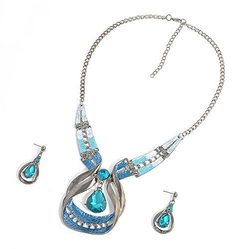 et Crystal Chunky Statement Chain Pendant Necklace Earring ()