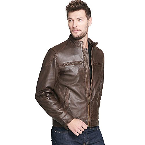 Rivet Buster - Wilsons Leather Mens Web Buster Leather Moto Jacket W/Shoulder Patches XL Brown