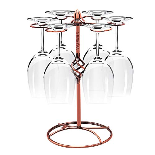 Sunnyac Scrollwork Bronze Wine Glass Rack, Elegant Freestanding Stemware Holder Stand With 6 Hooks, for Home and Bar Storage and Artistic Tabletop Display, Spiral Style (Bronze 1) ()