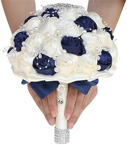 Handmade Diamond Wedding Bouquet for Bridal with Pearl Rhinestones Silk Ribbon use in Church (Navy Blue+Ivory)