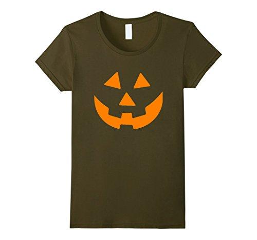 Womens Jack O' Lantern Pumpkin Halloween Costume T-Shirt XL Olive -
