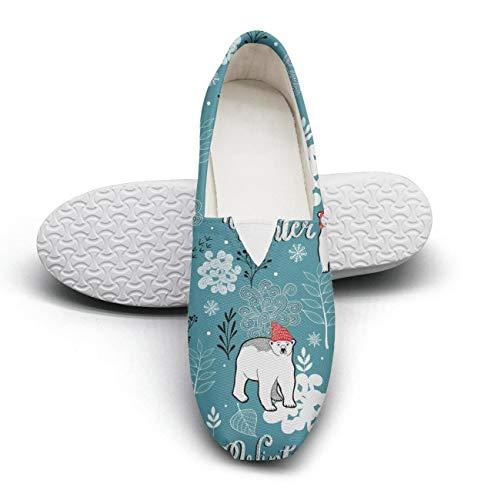 (HappyWomen Winter Frozen Forest Polar Bear Fairytale Princess Women's Comfort Flat Walking Sneakers Ladies Espadrille Flats)