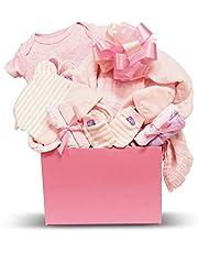 Newborn Baby Girl - Small, Pink Gift Basket with Cotton Pajamas, Swaddling Blanket, Socks, 4 Washcloths, Non-Scratch Mittens, Hat - Expecting Moms, Parent, Infants - by Pellatt Cornucopia