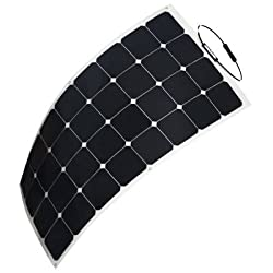 HQST 100 Watt 12V Monocrystalline Lightweight Solar Panel for RV/Boat/ Other Off Grid Applications