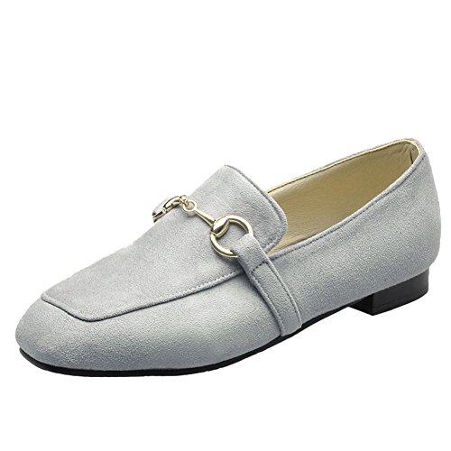 Latasa Mujeres Square-toe Flat Slip On Mocasines Gris
