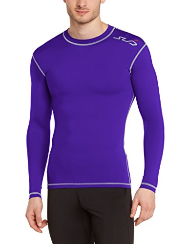 Sub Sports Herren Dual Kompressionsshirt Funktionswäsche Base Layer langarm, Lila, M