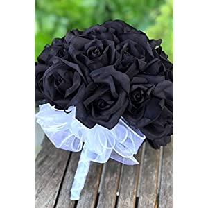 Custom Black Rose Silk Wedding Bouquet for Bride | Wedding Flowers | Artificial Flowers - Choose Your Ribbon Color (36 Black Beauty Rose) 73
