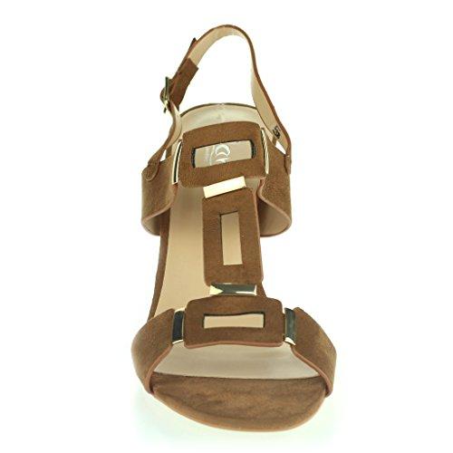 Mujer Señoras Punta Abierta Slingback Correa de Hebilla Noche Casual Fiesta Tacón de Bloque Sandalias Zapatos Talla camello