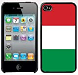 Apple iPhone 4 4S 4G Black 4B36 Hard Back Case Cover Italy Italian Flag Color