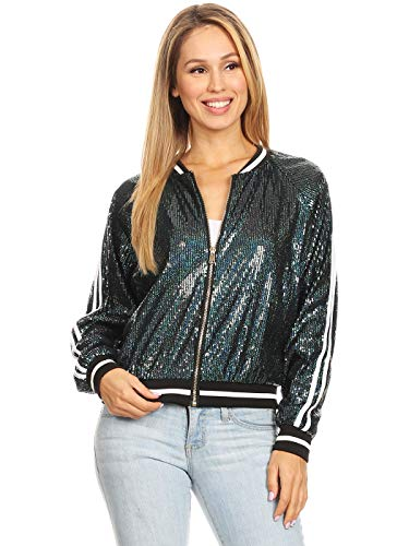 Anna-Kaci Womens Long Sleeve Front Zip Track Stripe Sequin Bomber Jacket, Green, Small